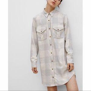 NWT Widfred Free ARITZIA Shirtdress Plaid Dress